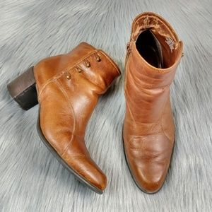 Vintage Tan Leather Studded Ankle Boots